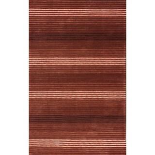 nuLOOM Handmade Modern Lines Burgundy Cotton Rug (7'6 x 9'6)