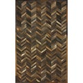 nuLOOM Handmade Chevron Multi Cowhide Leather Rug (5' x 8')