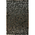 nuLOOM Handmade Circles Black Cowhide Leather Rug (5' x 8')