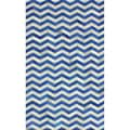 nuLOOM Handmade Chevron Blue Cowhide Leather Rug (5' x 8')