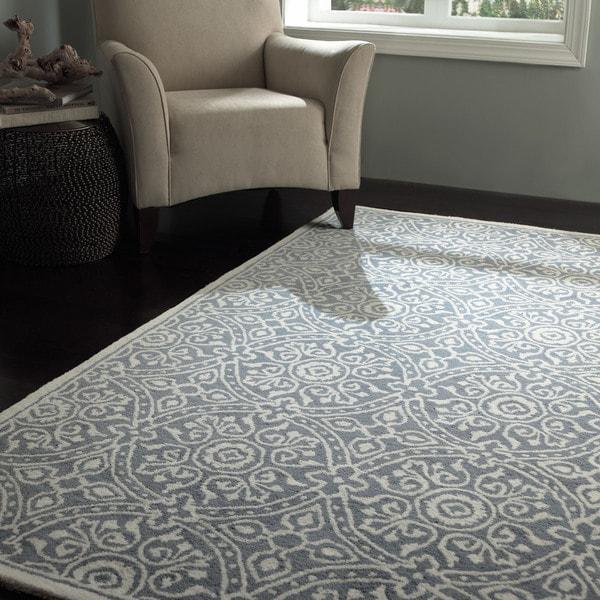 nuLOOM Handmade Trellis Grey Wool Rug (5' x 8')
