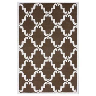 nuLOOM Handmade Luna Marrakesh Trellis Brown Wool Rug (3' x 5')