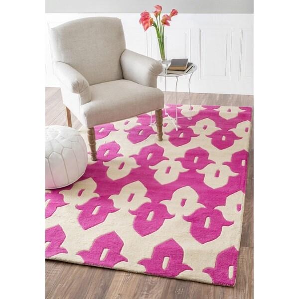 NuLOOM Handmade Modern Ikat Trellis Pink/ Ivory Wool Rug