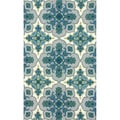 nuLOOM Handmade Lattice Blue Wool Rug (3' x 5')
