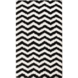 nuLOOM Luna Black and White Chevron Shag Rug (9'2 x 12')