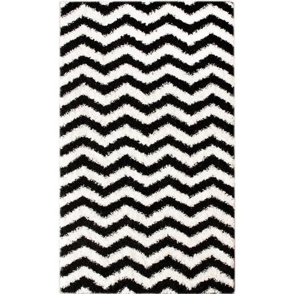 nuLOOM Luna Black and White Chevron Shag Rug (9'2 x 12')