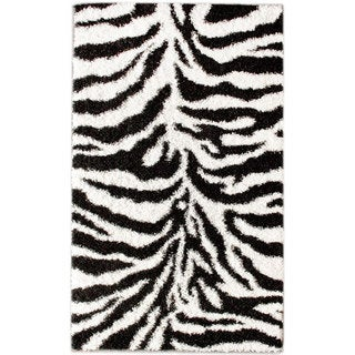 nuLOOM Luna Black and White Zebra Shag Rug (9'2 x 12')