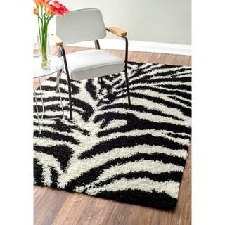 nuLOOM Luna Black and White Zebra Shag Rug (9'2 x 12')