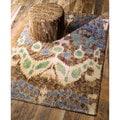 nuLOOM Handmade Ikat Grey Jute Rug (4' x 6')