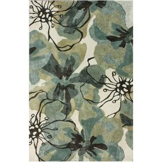 nuLOOM Bold Floral Ivory Microfiber Rug (4' x 6')