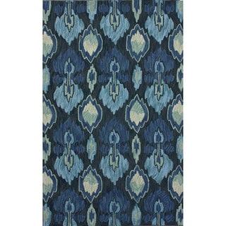 nuLOOM Handmade Modern Ikat Blue Rug (4' x 6')