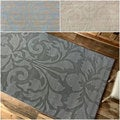 nuLOOM Handmade Neutrals and Textures Damask Grey Wool Rug (6' x 9')