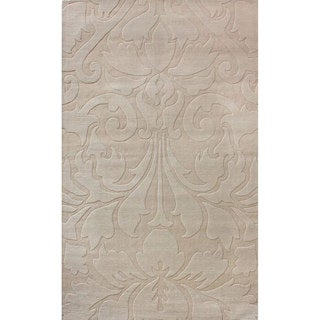 nuLOOM Handmade Neutrals and Textures Damask Sand Wool Rug (6' x 9')