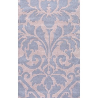 nuLOOM Handmade Neutrals and Textures Damask Blue Wool Rug (6' x 9')