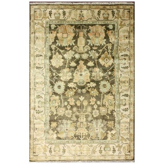 nuLOOM Hand-Knotted Traditional Floral Light Brown Wool Rug (6' x 9')