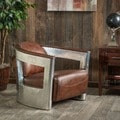 Christopher Knight Home Natasha Brown Leather and Metal Club Chair