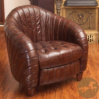 Christopher Knight Home Gaston Brown Tufted and Channeled Leather Club Chair