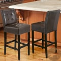 Christopher Knight Home Macbeth Espresso Brown Leather Counter Stools (Set of 2)