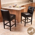 Christopher Knight Home Macbeth Black Leather Counter Stools (Set of 2)