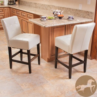 Christopher Knight Home Macbeth Ivory Leather Counter Stools (Set of 2)