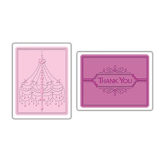 Sizzix Textured Impressions Embossing Folders 2-pack Chandelier and Thank You Sets by Rachael Bright