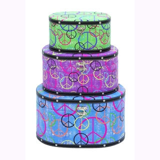 'Peace' Wooden Canvas Modern Boxes (Set of 3)