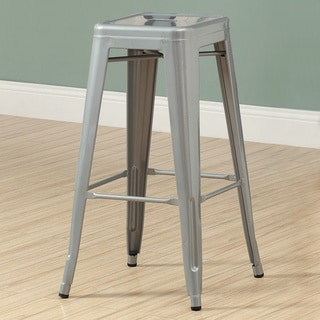 Silver Galvanized Metal 30-Inch Cafe Barstool (Set of 2)