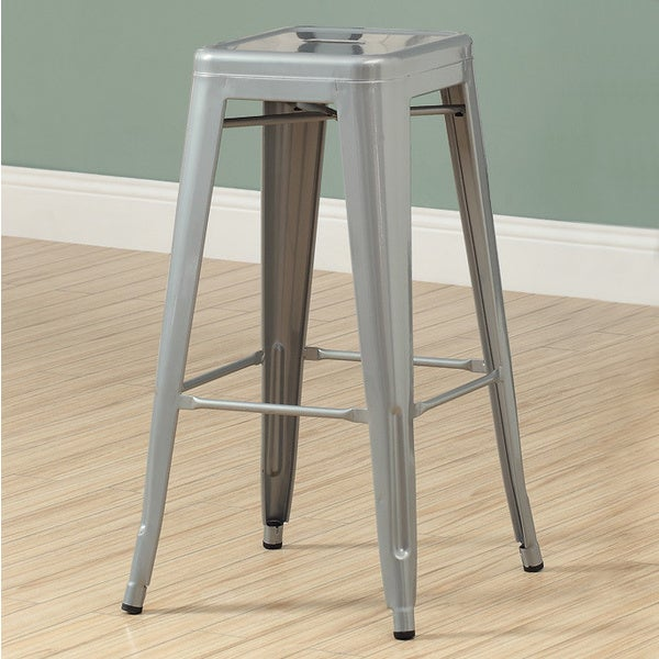 Silver Galvanized Metal 30 Inch Cafe Barstool Set Of 2