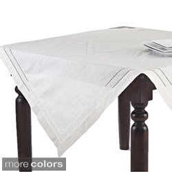 Embroidered and Hemstitch Table Topper