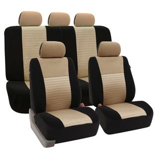 FH Group Beige Trendy Elegance Airbag-safe Car Seat Covers (Full Set)