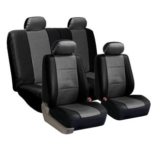 FH Group PU Leather Gray and Black Car Seat Covers (Full Set)
