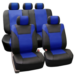 FH Group PU Leather Blue Airbag Compatible Racing Seat Covers (Full Set)