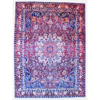 Persian Hand-knotted 1940's Tribal Bakhtiari Burgundy/ Navy Wool Rug (9'5 x 13')