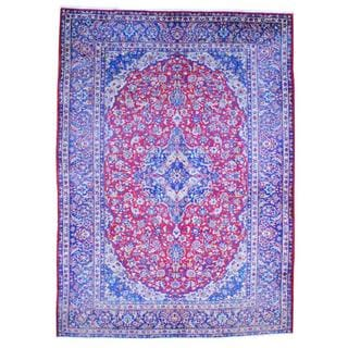 Persian Hand-knotted 1960's Isfahan Red/ Blue Wool Rug (9'9 x 13'7)