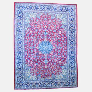 Persian Hand-knotted Isfahan Red/ Navy Wool Rug (9'7 x 13')
