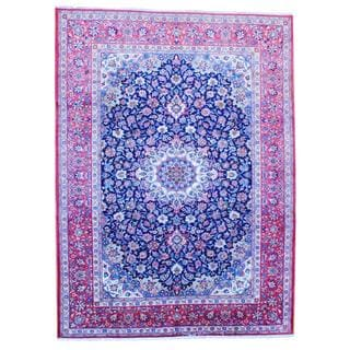 Persian Hand-knotted Kashan Navy/ Red Wool Rug (9'6 x 13')