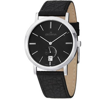 Grovana Men's 1050.1537 Black Dial Black Leather Strap Quartz Watch