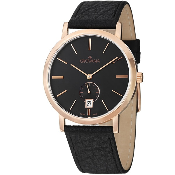Grovana Men's 1050.1567 Black Dial Rose Gold Black Leather Strap Quartz Watch