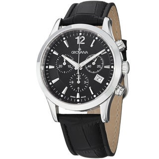 Grovana Men's Black Dial Chronograph Black Leather Strap Quartz Watch