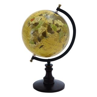 Sophisticated 14-inch Wooden and Metal Globe