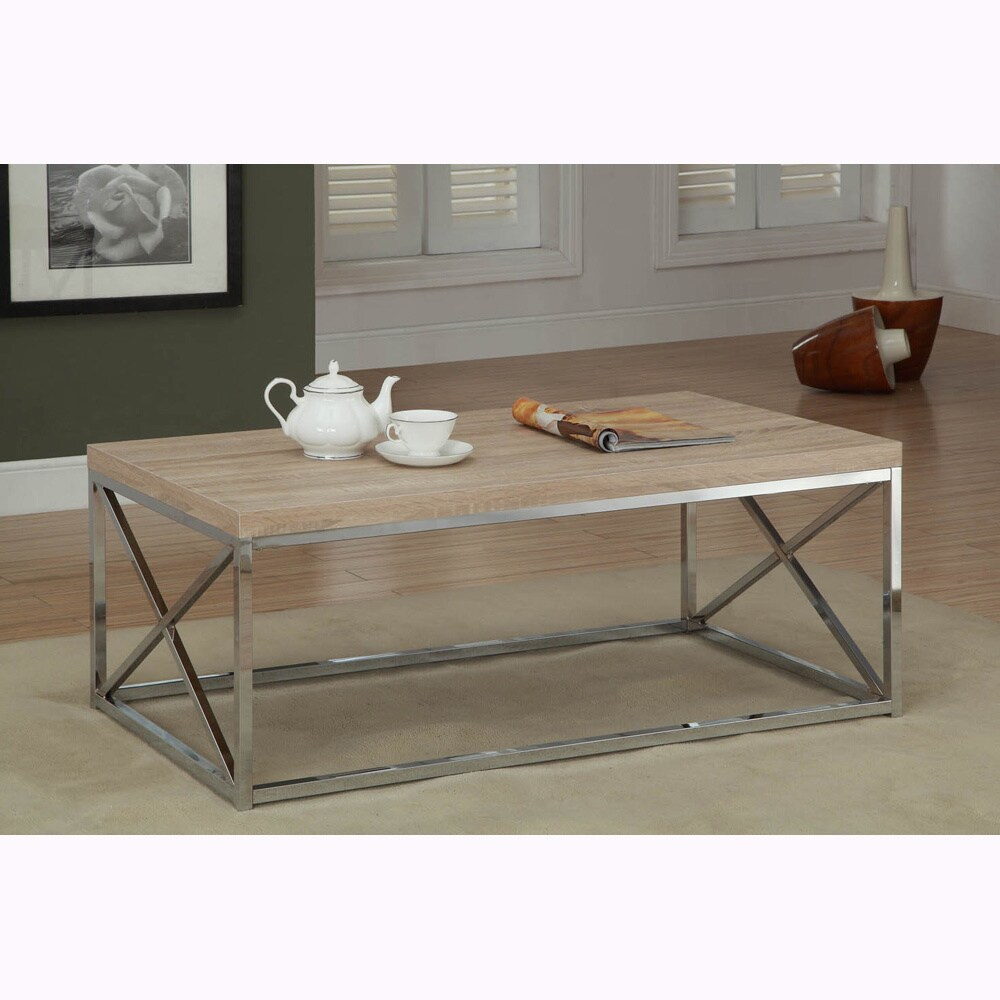 Natural Reclaimed Look Chrome Metal Cocktail Table