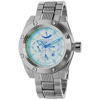 Android Men's 'Powerjet AD554BY' Silvertone Stainless Steel Blue Dial Automatic Watch