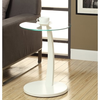 White Bentwood Tempered Glass Accent Table