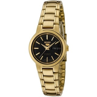 Seiko Women's '5 Automatic SYME48K' Goldtone Stainles Steel Black Dial Automatic Watch