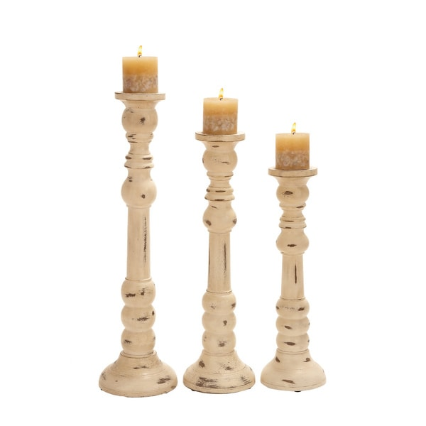 Antiqued Wood Candle Holders (Set of 3)