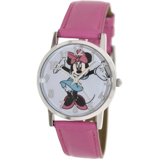 Disney Women's MIN067 Pink Polyurethane Quartz Watch with White Dial