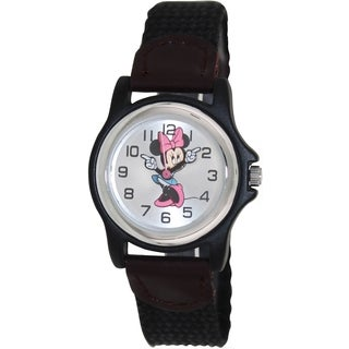 Disney Women's Black Nylon Quartz Watch with Silver Dial