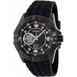 Seiko Men's Superior Black Rubber Automatic Watch with Black Dial