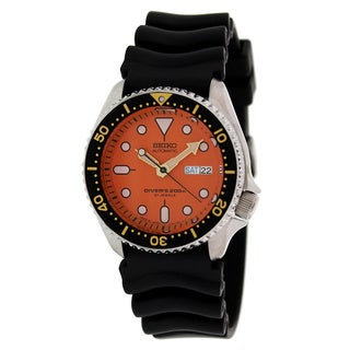 Seiko Men's Black Rubber Automatic Watch with Orange Dial