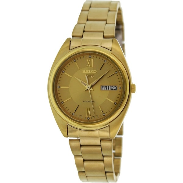 Seiko Men's 5 Automatic Gold Stainless-Steel Automatic Watch with Gold Dial